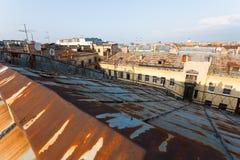 圣彼德堡老屋顶  库存照片