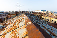 圣彼德堡老屋顶  图库摄影