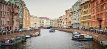 圣彼德堡运河全景  免版税库存图片