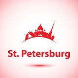 圣彼德堡,俄罗斯传染媒介剪影  免版税库存图片