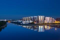 圣彼德堡,俄罗斯, 05 6月2017 :夜城市光的看法 圣彼德堡 库存图片