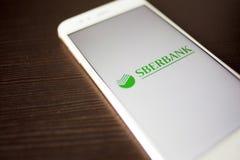 圣彼德堡,俄罗斯- 2019年5月14日:俄国sberbank的商标在智能手机屏幕上的 免版税库存图片