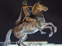 圣彼德堡,俄罗斯- 2017年12月22日:古铜色御马者-彼得大帝骑马雕象在Staint彼得斯堡, Russi 免版税库存图片