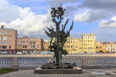 圣彼德堡,俄罗斯- 2015年7月1日:阿尔弗雷德・诺贝尔纪念碑在圣彼德堡,俄罗斯 免版税图库摄影