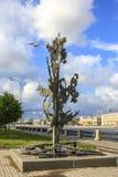 圣彼德堡,俄罗斯- 2015年7月1日:阿尔弗雷德・诺贝尔纪念碑的看法在圣彼德堡,俄罗斯 库存照片