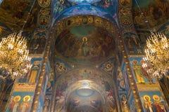 圣彼德堡,俄罗斯- 2017年6月6日 基督的复活教会血液的救主或大教堂内部  库存图片