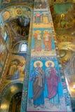 圣彼德堡,俄罗斯- 2017年6月6日 基督的复活教会血液的救主或大教堂马赛克  库存图片