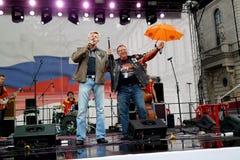 圣彼德堡,俄罗斯- 2013年8月11日:为庆祝哈利100th周年共同安排组织者在凯瑟琳广场 库存照片