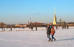 圣彼德堡,俄罗斯- 2017年3月5日:彼得和保罗堡垒在冬天 人们沿内娃的冰走 免版税库存照片