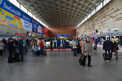 圣彼德堡,俄罗斯- 6月01 2017年 莫斯科火车站内部  免版税库存图片