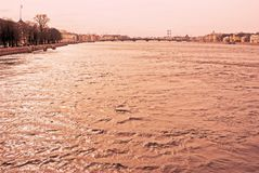 圣彼德堡,俄罗斯建筑学  内娃河堤防 免版税库存照片