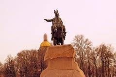 圣彼德堡,俄罗斯建筑学  大教堂圆屋顶isaac ・彼得斯堡俄国s圣徒st 古铜色御马者纪念碑 库存照片