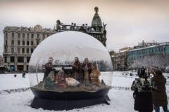 圣彼德堡,圣诞节诞生场面 免版税库存照片