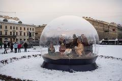 圣彼德堡,圣诞节诞生场面 免版税库存图片