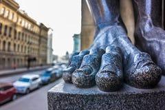 圣彼德堡,脚围场和街道  库存照片