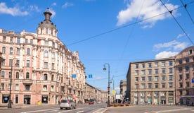 圣彼德堡, Kammennoostrovsky Prospekt 免版税库存图片