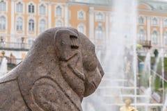 圣彼德堡, RUSSIA-JUNE 03日2017年 大小瀑布的喷泉在Peterhof 库存图片