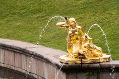 圣彼德堡, RUSSIA-JUNE 03日2017年 大小瀑布的喷泉在Peterhof 免版税库存图片
