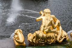 圣彼德堡, RUSSIA-JUNE 03日2017年 大小瀑布的喷泉在Peterhof 免版税库存照片
