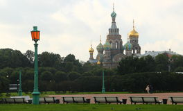 圣彼德堡:救主的教会血液的 库存照片