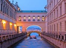 圣彼德堡 俄国 冬天运河 免版税库存照片