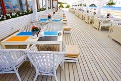 圣彼德堡 俄国 05 25 在海滩的2018restaurant 库存照片