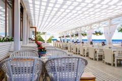 圣彼德堡 俄国 05 25 2018年海滩的餐馆 免版税库存图片