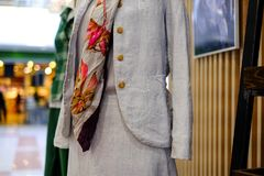 圣彼德堡 俄国 05 2018年 在时装模特的名牌服装 库存图片