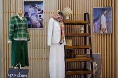 圣彼德堡 俄国 05 2018年 在时装模特的名牌服装 免版税库存照片