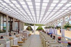 圣彼德堡 俄国 05 27 2018年 海滩的餐馆 免版税库存图片