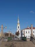圣彼德堡 海大教堂的Nikolsky的belltower 库存照片