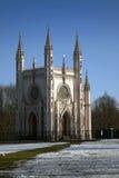圣徒亚历山大・涅夫斯基东正教哥特式教堂在亚历山大公园 圣彼得堡,俄罗斯的郊区 库存照片
