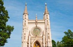 圣徒亚历山大・涅夫斯基教会在Peterhof,俄罗斯。 免版税图库摄影