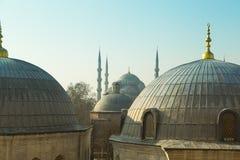 圣徒从圣徒苏菲伊斯坦布尔土耳其的苏菲大教堂圆顶  免版税库存照片