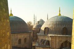 圣徒从圣徒苏菲伊斯坦布尔土耳其的苏菲大教堂圆顶  免版税图库摄影
