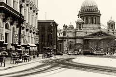 圣徒以撒` s大教堂地标彼得斯堡 免版税库存图片