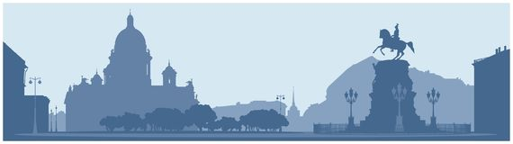圣徒以撒` s正方形在圣彼得堡 库存例证