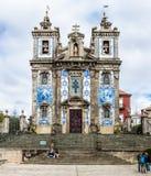 圣徒伊尔德方索教会和楼梯在波尔图,葡萄牙 库存照片