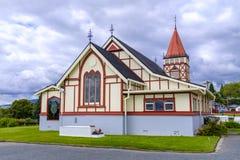 圣徒信念` s英国国教的教堂在罗托路亚 免版税图库摄影