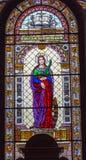 圣徒凯瑟琳彩色玻璃St斯蒂芬斯大教堂布达佩斯匈牙利 库存照片