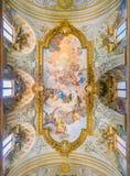 圣徒凯瑟琳`壁画`神化在圣诞老人Caterina da锡耶纳教会里Magnapoli路易Garzi 意大利罗马 免版税库存图片