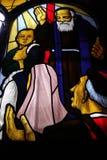 圣徒利奥波德Mandic,彩色玻璃 库存图片