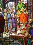 圣徒利昂deWestmount污迹玻璃窗教会  库存图片