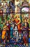 圣徒利昂deWestmount污迹玻璃窗教会  库存照片