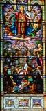 圣徒利昂deWestmount污迹玻璃窗教会  免版税库存照片