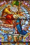 圣徒利昂deWestmount污迹玻璃窗教会  免版税图库摄影