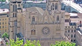 圣徒吉恩大教堂在利昂,法国 股票录像