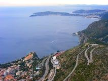 圣徒吉恩盖帽在法国,尼斯azur海岸的南部的ferrat海湾  库存图片