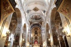 圣徒塞维利亚曲拱和天花板装饰的马德琳教会 库存图片