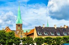 圣徒奥拉夫大教堂在老镇赫尔新哥-丹麦 库存图片